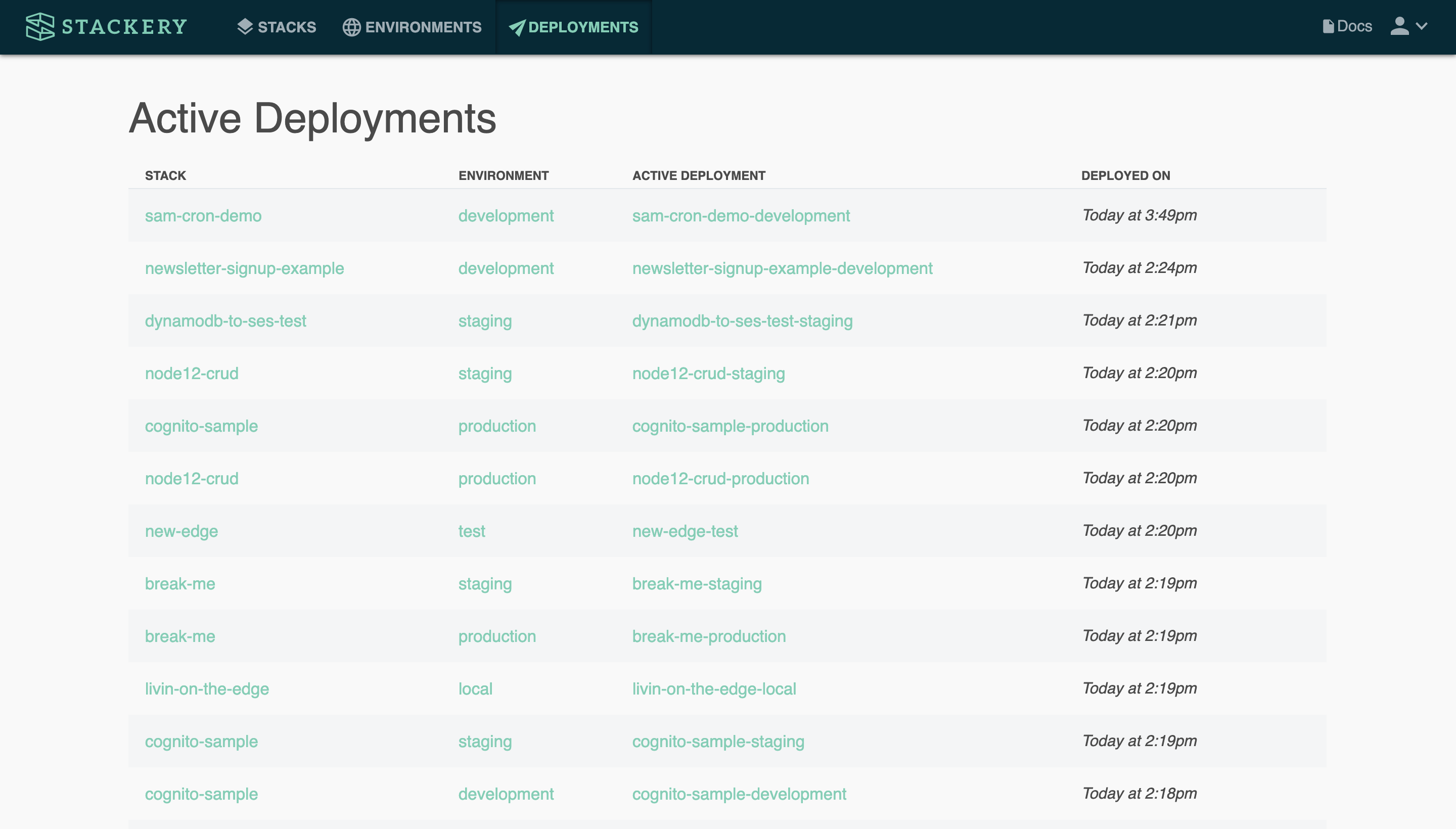The Deployments Dashboard.